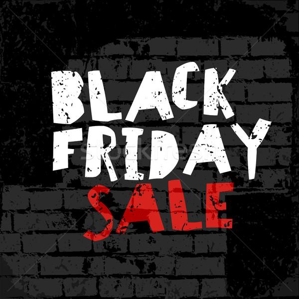 Black Friday poster  On brick wall texture vector