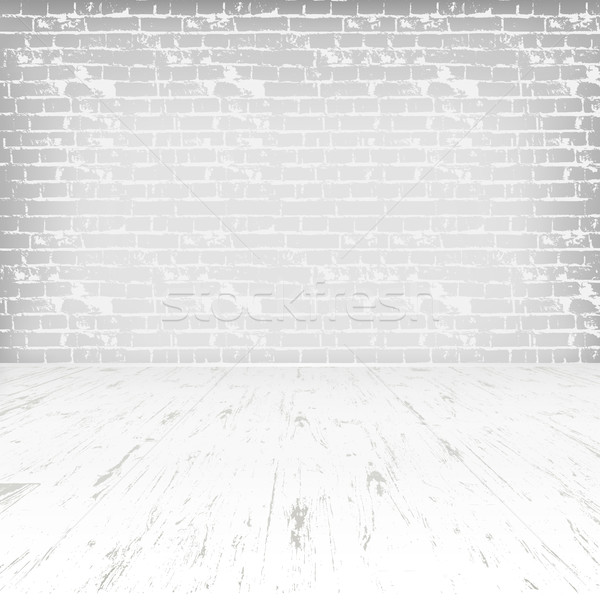stock photo stock vector empty white room with wooden floor and brick wall