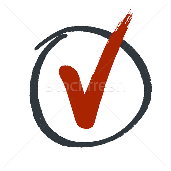 Grunge red check mark in hand drawn circle area Stock photo © pashabo
