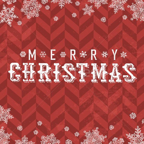 Vidám karácsony klasszikus képeslap hópehely keret Stock fotó © pashabo
