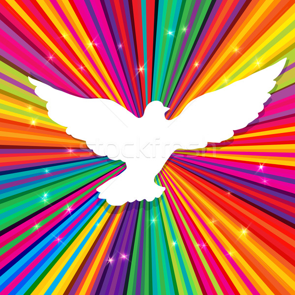 Dove silhouette on psychedelic colored abstract background. Vect Stock photo © pashabo