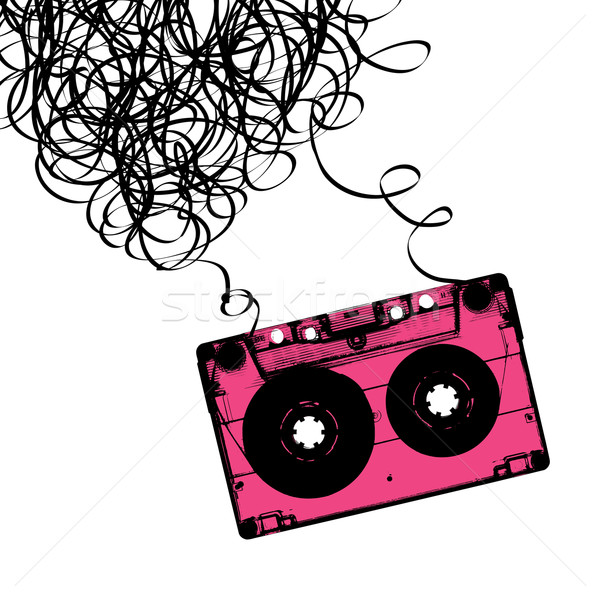 Audiocassette tape with tangled. Vector illustration. Stock photo © pashabo