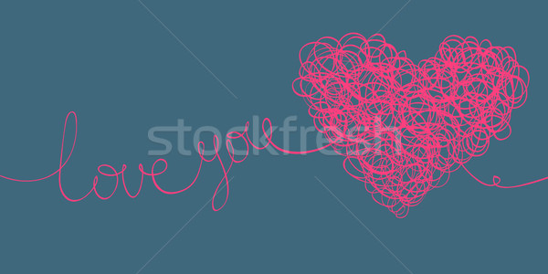 'love you' words and heart shaped line scribbles on letter forma Stock photo © pashabo