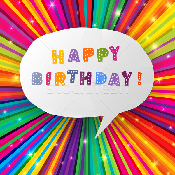 Happy birthday card on colorful rays background. Vector, EPS10 Stock photo © pashabo
