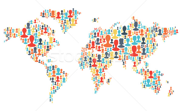 Group of colorful people silhouettes making a earth planet shape Stock photo © pashabo