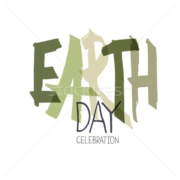 Handwritten Earth Day Calebration Typography. Minimalistic logo  Stock photo © pashabo