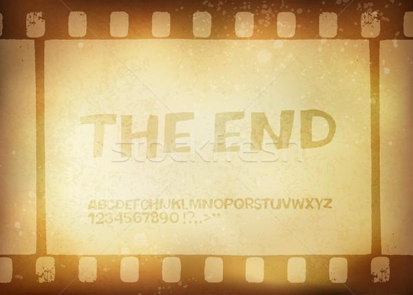 Old filmstrip. Movie ending frame.  Vector illustration, EPS10 Stock photo © pashabo
