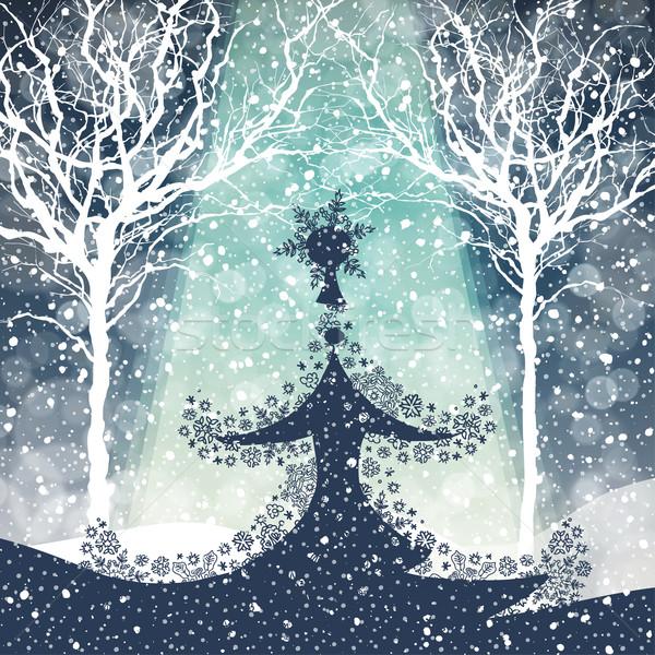Merry Christmas Tree with Falling Snow Stock photo © pashabo