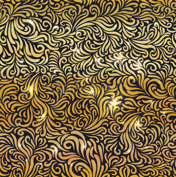 Seamless golden floral pattern with lights Stock photo © pashabo