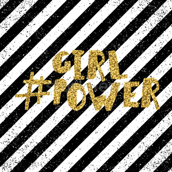 Girl power quote, feminism slogan. Golden glitter inscription fo Stock photo © pashabo