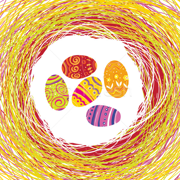Easter Eggs in the colorful nest. Editable by layers, vector. Stock photo © pashabo