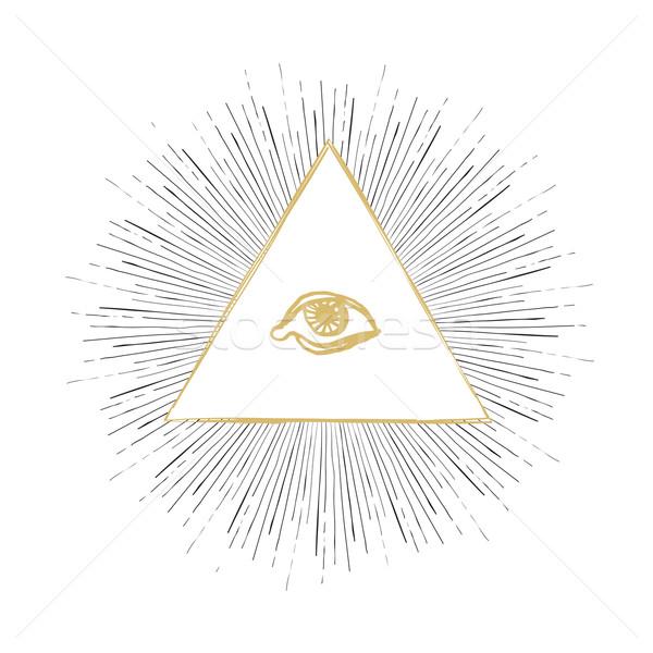 Сток-фото: глаза · иллюстрация · свет · черный · золото