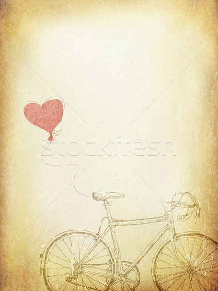 Vintage Valentines Illustration with Bicycle and Heart Baloon. A Stock photo © pashabo