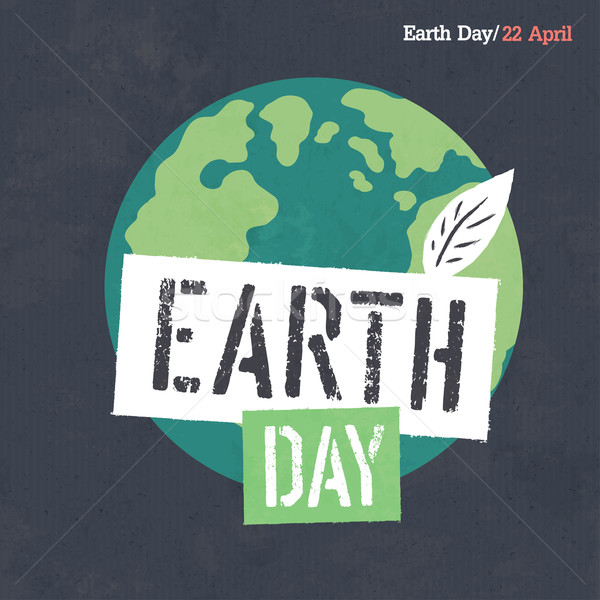 Earth Day Poster. Earth Illustration. Earth Day Logotype. On dar Stock photo © pashabo