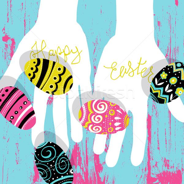 Ovos de páscoa mãos brilhante cores páscoa cartão postal Foto stock © pashabo