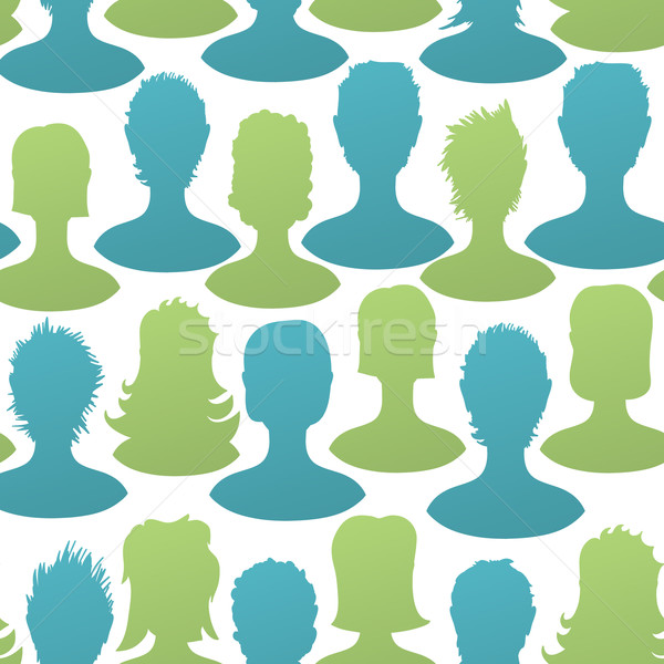 Social silhouettes seamless pattern, vector, EPS8 Stock photo © pashabo
