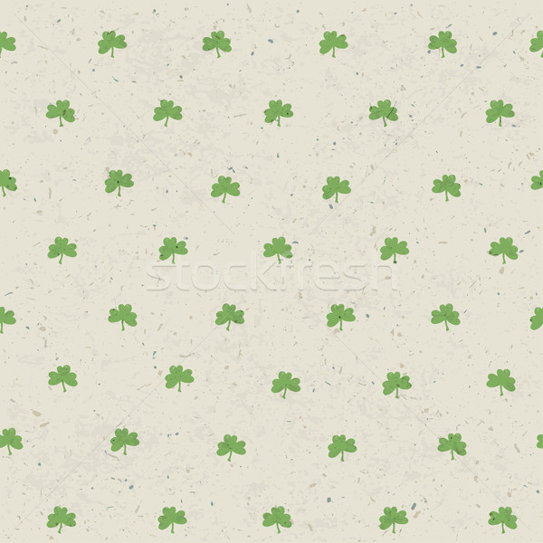 Clover leaf seamless pattern on paper texture. Vector, EPS10 Stock photo © pashabo