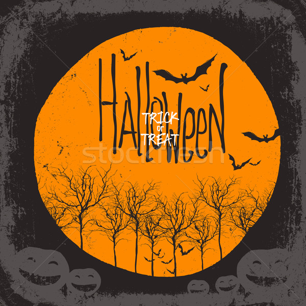 Halloween vector background. Dry tree and pumpkins. Full moon an Stock photo © pashabo
