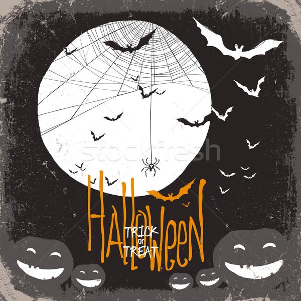 Halloween teia da aranha lua cheia abóbora abóboras casa Foto stock © pashabo