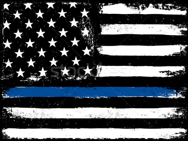 Thin Blue Line. Black Flag with Police Blue Line.  Stock photo © pashabo