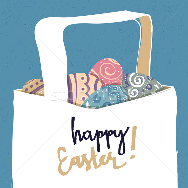 Greeting card with with Easter eggs. Easter basket. Stock photo © pashabo