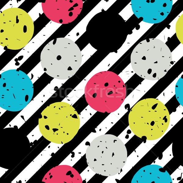Stock photo: Pop-art style seamless print. Yellow, Cyan, Blue, Black Circles