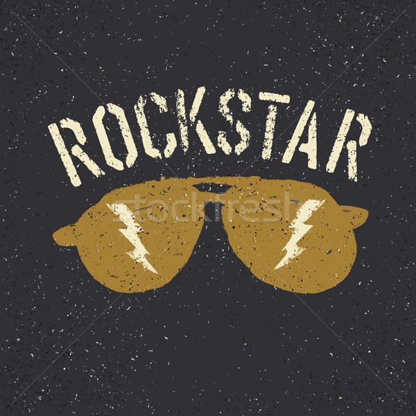 Sunglasses with thunderbolt. Rockstar tee print design template Stock photo © pashabo