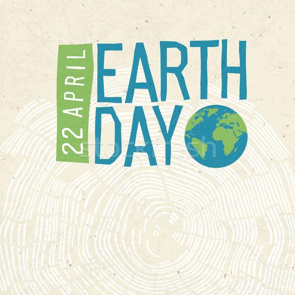 Dia da terra cartaz árvore anéis logotipo data Foto stock © pashabo