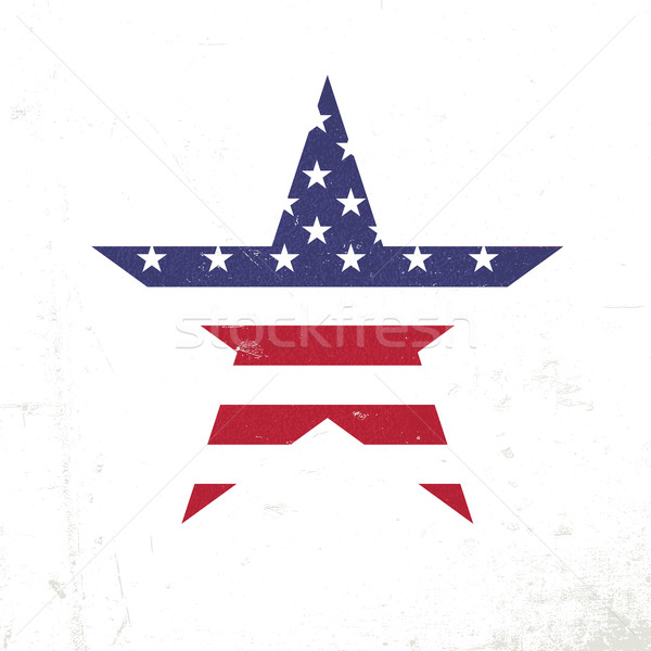 American flag in star shape. Patriotic design template. Grunge t Stock photo © pashabo