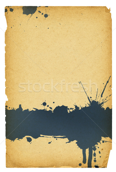 Ink stain on old paper with torn edges. Isolated on white, with  Stock photo © pashabo