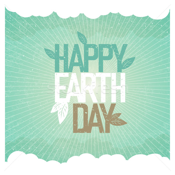Vintage Earth Day Poster. Rays, leaves, clouds, sky. On old pape Stock photo © pashabo