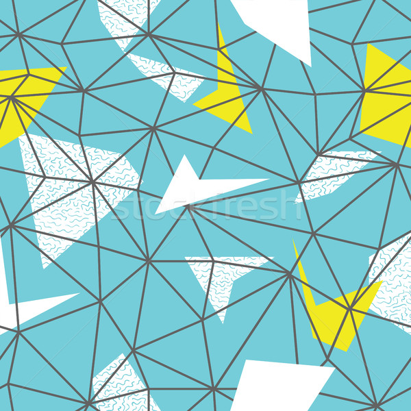 Triangles wire-frame seamless repeat pattern. Triangular facets. Stock photo © pashabo