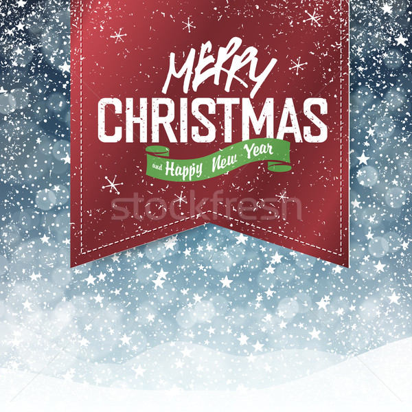 Merry Christmas Vintage Background. Falling Snow and Golden Badg Stock photo © pashabo