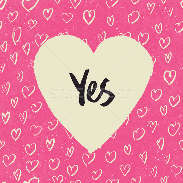 'Yes'. Handwritten letters in heart shape. On hearts pattern. Pi Stock photo © pashabo