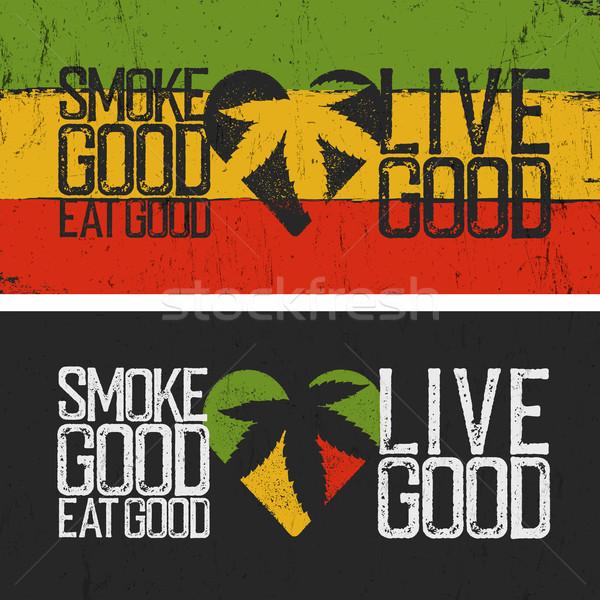 Establecer dos comillas humo buena comer Foto stock © pashabo