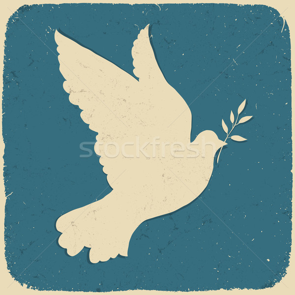 Stock photo: Dove of Peace. Retro styled illustration, vector, eps10.