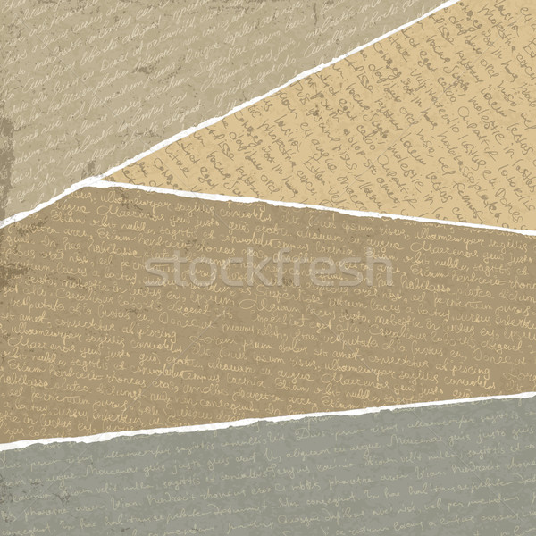Vintage handwritings on torn papers scraps, vector illustration, Stock photo © pashabo
