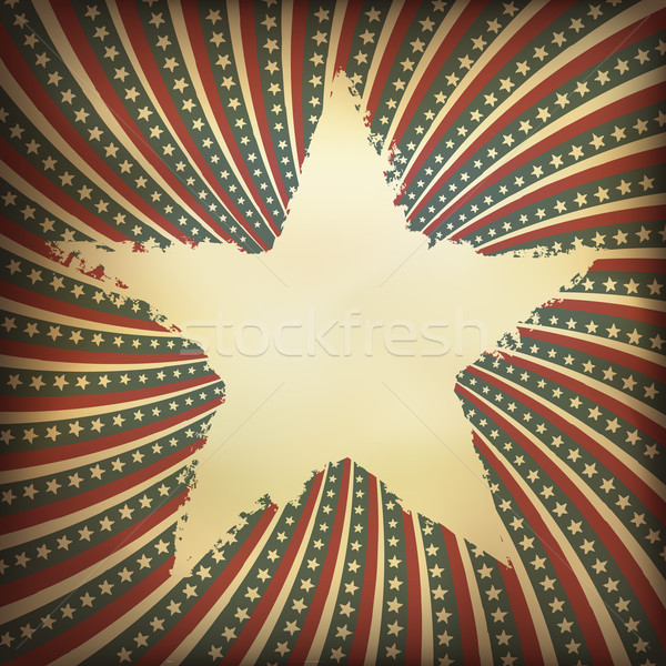Patriotic background with grunge star-shaped label. Vector, EPS1 Stock photo © pashabo
