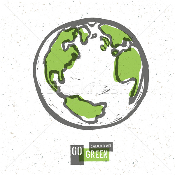 Go Green Concept Poster With Earth. Vector Stock photo © pashabo