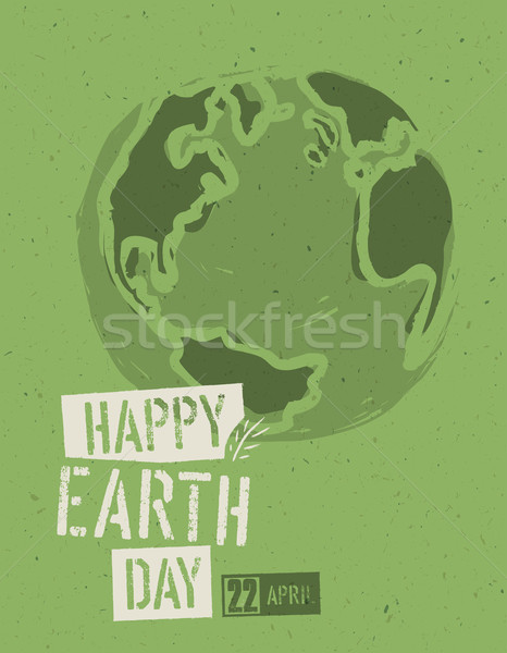Happy Earth Day Poster. Symbolic Earth illustration on the green Stock photo © pashabo
