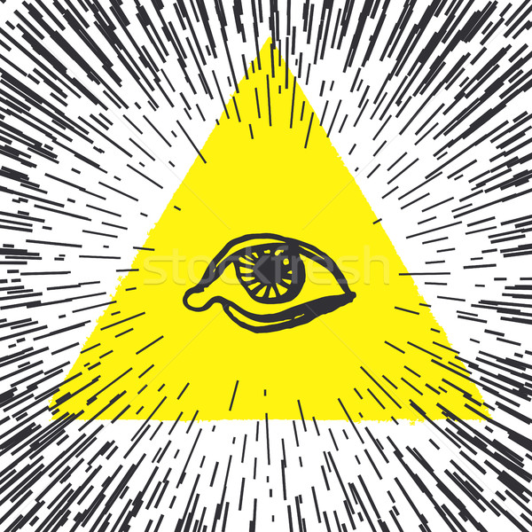 All seeing eye pyramid illustration. Freemason and spiritual. Stock photo © pashabo