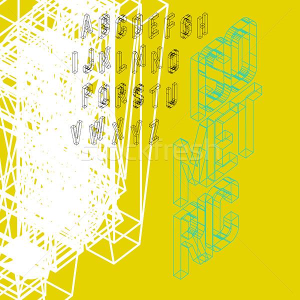 Isometrica wireframe carattere caso 26 lettere Foto d'archivio © pashabo