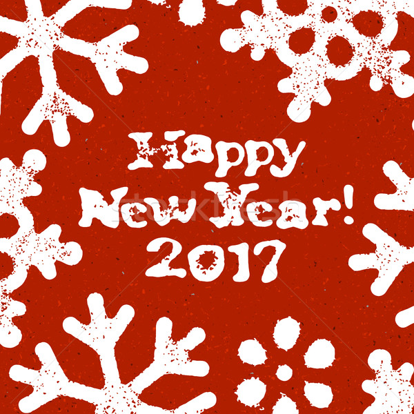 Happy New Year! 2017. Postcard Grunge Design On Red Textured Bac Stock photo © pashabo