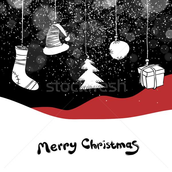 Merry Christmas postcard. Christmas gifts and ball. Vector backg Stock photo © pashabo