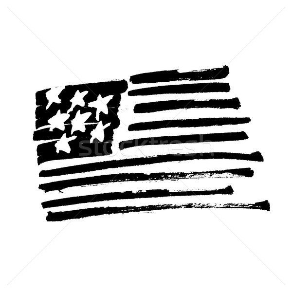 Hand drawn American flag 'Stars and stripes' monochrome Illustra Stock photo © pashabo