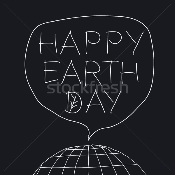 Happy Earth Day greeting lettering in speech balloon. Vector ill Stock photo © pashabo