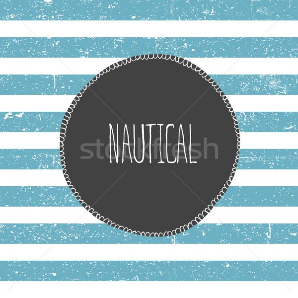Marine background. Blue lines pattern. Nautical card design Stock photo © pashabo