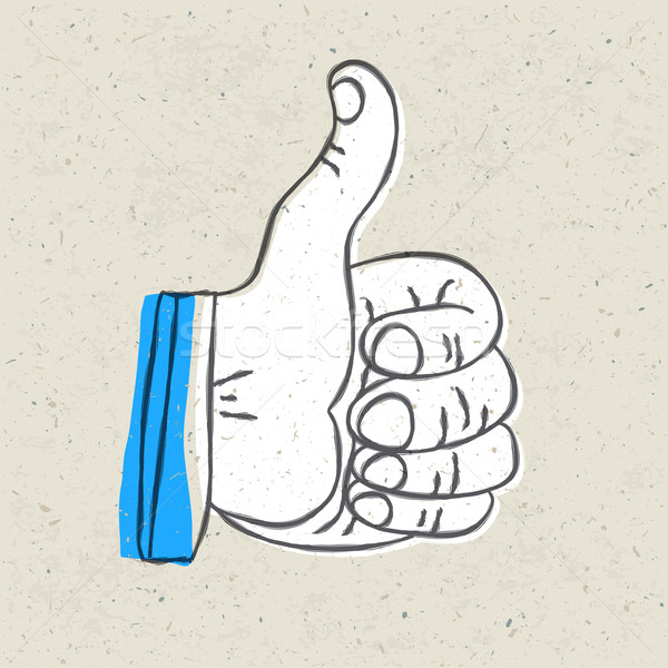 Retro styled thumb up symbol. Vector illustration, EPS10 Stock photo © pashabo