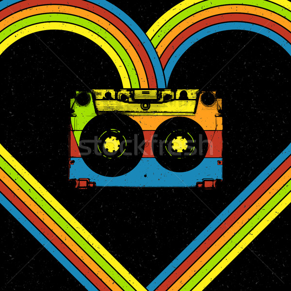 Disco music concept illustration. Audiocassette in heart shaped  Stock photo © pashabo