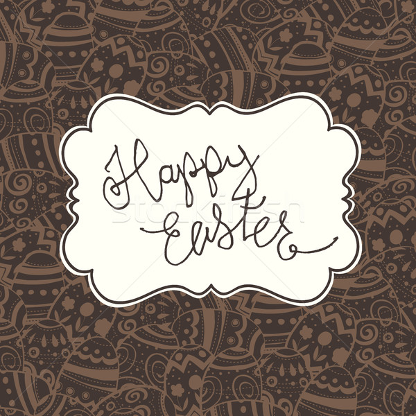 Chocolate Happy Easter Vintage Greeting Card. Easter eggs patter Stock photo © pashabo